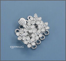 Sterling Silver 4 Strand Flower Box Clasp 19mm w/ CZ Clear #51541