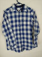 Lacoste Youth Boys  Shirt Blue / White Plaid Button Front Long Sleeve Size 12