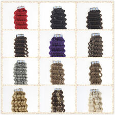 Seamless Tape In Brazilian Remy Human Hair Extensions Skin Weft Deep Curly Hair