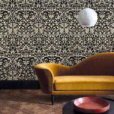 victorian Textured Wallpaper Non-Woven wallcoverings black gold metallic roll 3D