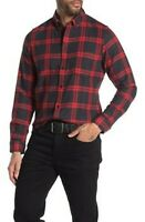 wolverine pike shirt  mens red gray plaid  Button Front Collar large   b1