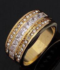 Size 7 Womens Band White Topaz 18K Gold Filled Rare Anniversary Rings For Women