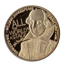 Beautiful 1 oz William Shakespere round Gold Plated token. Unc.