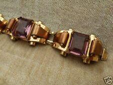 Coro Gold,Copper Scrolls Amethyst Articulated Bracelet designer Adolph Katz 1940