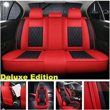 Luxury Black/Red Car Seat Covers Protector 5 Seats Universal Full Set Front Rear