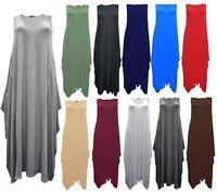 Women Italian Lagenlook Tulip Parachute Dress Stretchy Sleeveless Tunic Top 8-24