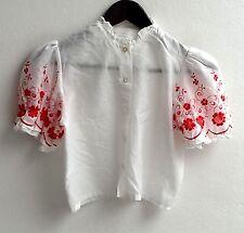 Kinder Trachten Bluse weiß m. roter Stickerei Gr. 158 v. Famos