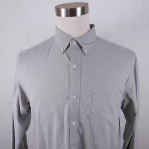 J Crew Mens Stretch Flex Slim Fit LS Button Up Gray Abstract Dress Shirt Large