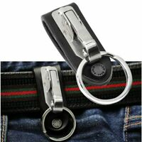 Key Chain Stainless Steel Leather Detachable Keychain Belt Clip Key Ring Holder