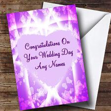 Rosa y púrpura Corazones romántica boda personalizada día tarjeta de saludos
