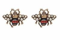 Vintage Bee Stud Retro Antiqued Gold, Red, Black Enamel & Pearl Stud Earrings