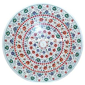 "36"" Round Marble Dining Table Top Multi Floral Marquetry Inlay Patio Decor M153"