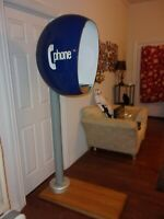 60s Mod Telephone Booth with 1969 Chrome Payphone, 100% Original, Restored in 85
