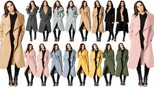 Ladies Women's Waterfall Belted Long One Size Jacket Italian Trench Duster Coat