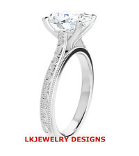 One Colorless Band Solitaire Engagement Ring New listing 1.50 Ct Moissanite Oval Forever