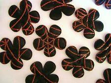 40 Spider Web Print Black Satin Flower Applique/Halloween/trim/craft/Orange H326