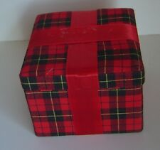 NEW Lot 6 Gift BOXES Red PLAID Material FELT Hinge SQUARE Ribbon GIFT Trinket