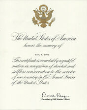 Ronald Reagan signed certificate (auto-pen) - President of the United States