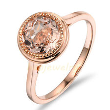 Milgrain 1.85CT Natural Pink Morganite Solid 14K Rose Gold Diamond Lady's Ring
