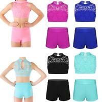 Girls Kids 2-Piece Dance Lace Outfit Crop Tops+Bottoms Jazz Gymnastics Leotard
