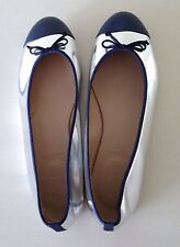 J Crew Kiki Mirror Metalic Cap Toe Ballet Shoes Navy Silver New A0593 $168  Sz.9