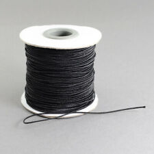 Black round elastic cord 1mm nylon outer for beading, jewellery, garments, craft