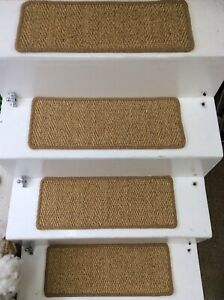 2 Premium Sisal Flat Weave carpet stair pads treads Natural 52cmx20cm