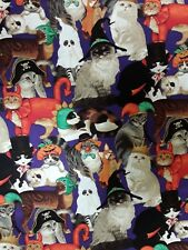 """New 45"""" 100% Cotton, Fabric Traditions, Patty Reed, Cats in Halloween Costumes"""