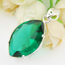 Water Drop Emerald Topaz Gemstone Silver Necklace Pendants For Mother