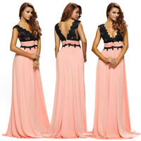 Sexy Sleeveless V Neck Lace Pleats Maxi Formal Party Gown Evening Long Dress