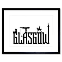 Glasgow City Scotland Landmarks Typography Silhouettes Framed Wall Art Print
