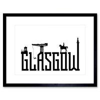 Glasgow City Scotland Landmarks Typography Silhouettes Framed Wall Art Print
