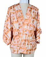 NWT - BOHO Satin Kimono Shaw Jacket Open Multi-Color Oversized Women's Large