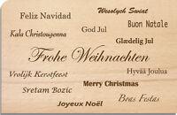"""Holzpost Postkarte aus Holz """"Frohe Weihnachten"""" verschiedene Sprachen"""