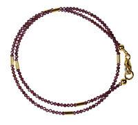 GRANAT Wickel-Armband 925 Silber vergoldet Armkette Z280