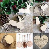 10Pcs Christmas Wood Ornament Pendant Set Xmas Tree Hanging Decoration Gifts DIY