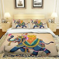 3D Indian Ethnic Elephant Lotus KEP821 Bed Pillowcases Quilt Duvet Cover Kay