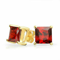 2 Ct Princess Cut Red Garnet 925 Sterling Silver Plated Gold Stud Earrings 6mm