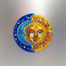 Sun and Moon Patch — Iron On Badge Embroidered Motif — Hippy Retro Fun Half