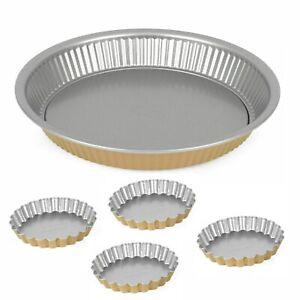 Set of 4 Tartlet Tins + 29cm Round Fluted Tart Tin Set Pie Quiche Flan Non Stick