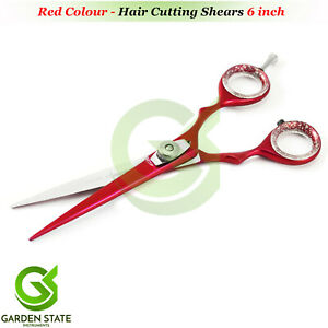 6'' Professional RED Hair Cutting Scissors Salon Hairdressing Sharp Razor Shears