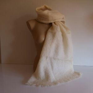 Echarpe femme fait main mohair laine DONEGAL DESIGN Irlande textile XXe N3333