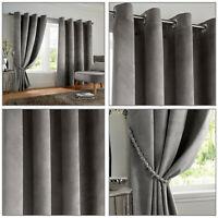 VELVET BLACKOUT Thermal Woven Lined Velvet Smooth Eyelet Ring Top Curtains Pair