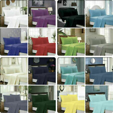 Ultra Soft Flat & Fitted Sheet Set 1000 TC Double/Queen/King/Super King Size Bed