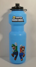 "10"" Blue Plastic Sport Drink Water Bottle Nintendo Super Mario Luigi Bros Figure"