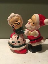 Vintage Christmas Dancing Santa and Mrs Claus Salt and Pepper Shakers