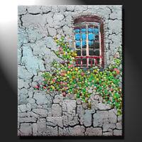 Original mosaic artwork painting porcelain window old house flowers GeeBeeArt