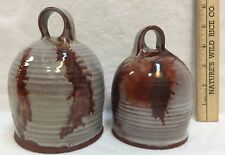 Stoneware Domes Pottery Glazed Handcrafted Cheese Red & Gray Handle Set of 2