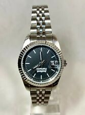 LEVI'S STAINLESS STEEL SILVER TONE DATE QUARTZ LADIES WATCH ~ NWOT