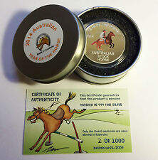 2014 Year of The Horse Aust Stock Horse 1 Oz Coin and Tin C O a Ltd 1 000